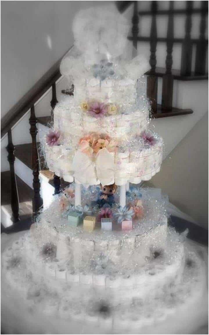 pastel de pañales estilo boutique personalizado