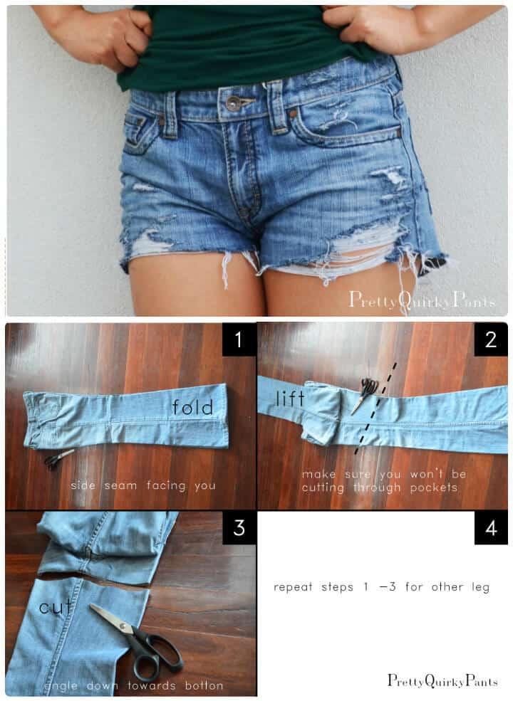 Pantalones cortos de corte angustiado de bricolaje
