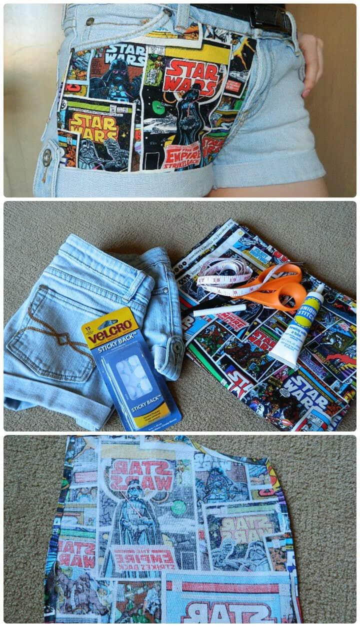 pantalones cortos con paneles de tela sin costuras funky
