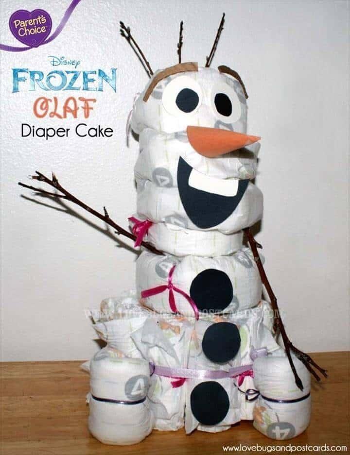 pastel de pañales de muñeco de nieve de baby shower