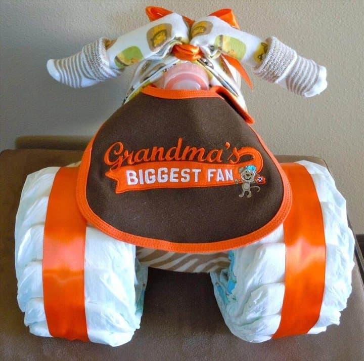 pastel de pañales triciclo fresco