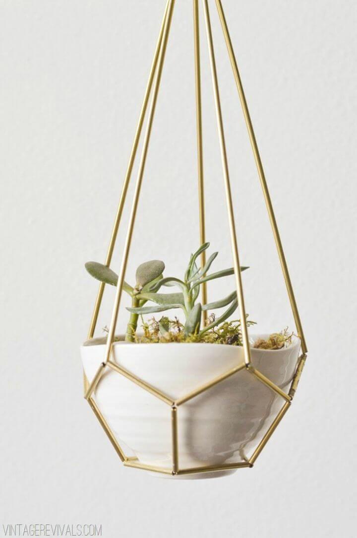 Jardinera colgante en forma de lágrima de cuero y latón para bricolaje