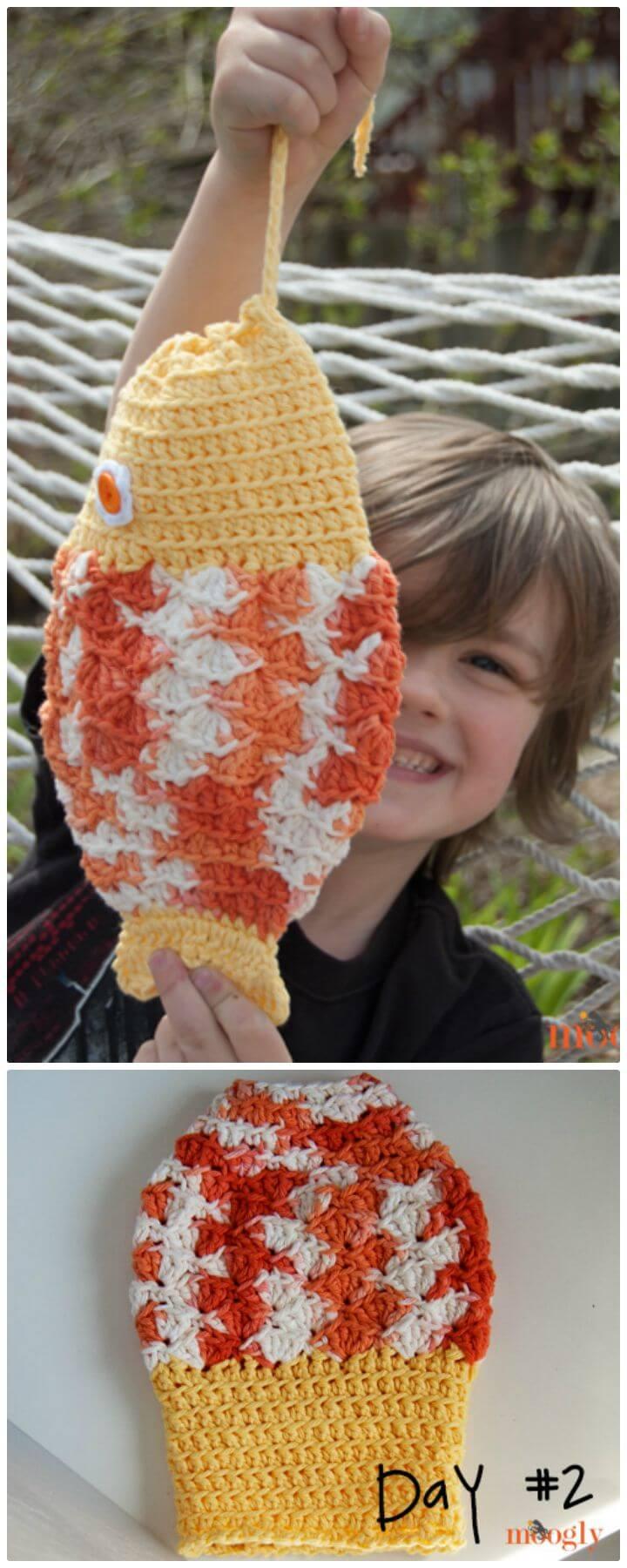 Patrón de bolsa de pescado misterioso de ganchillo gratis