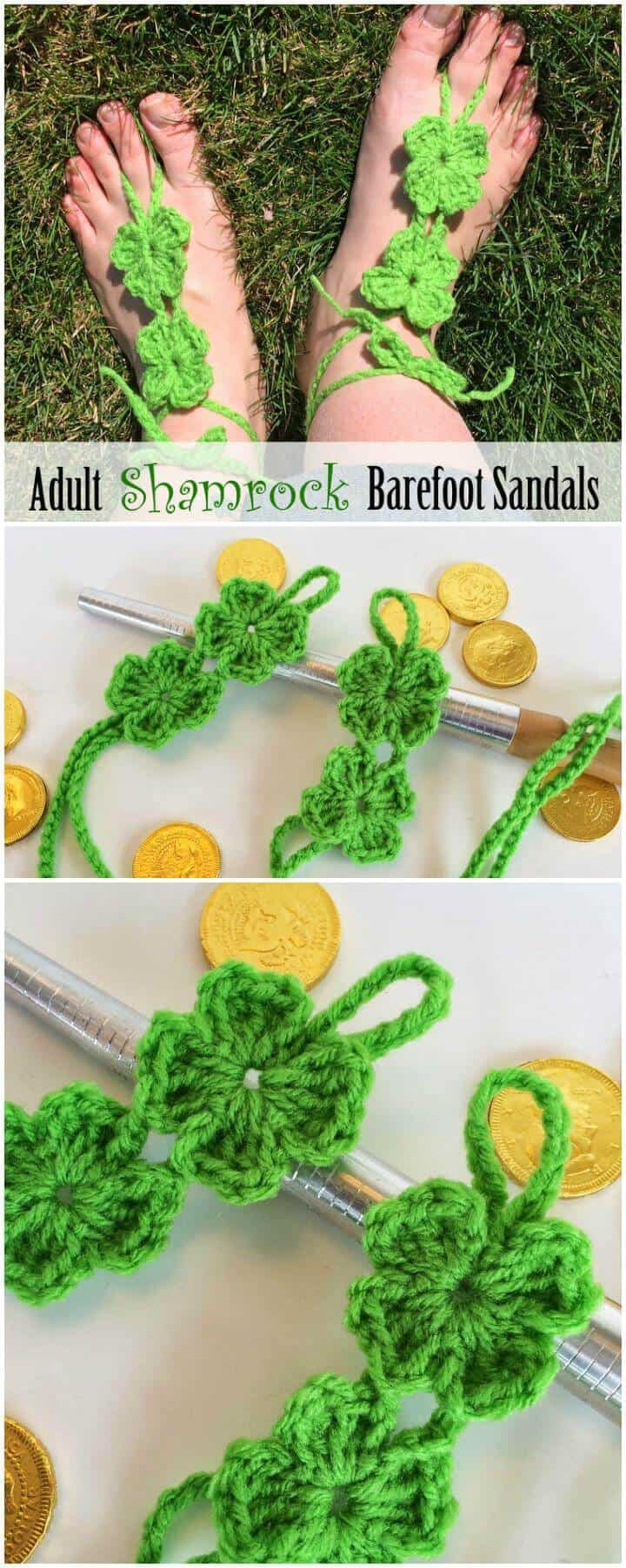Crochet Adult Shamrock Barefoot Sandals