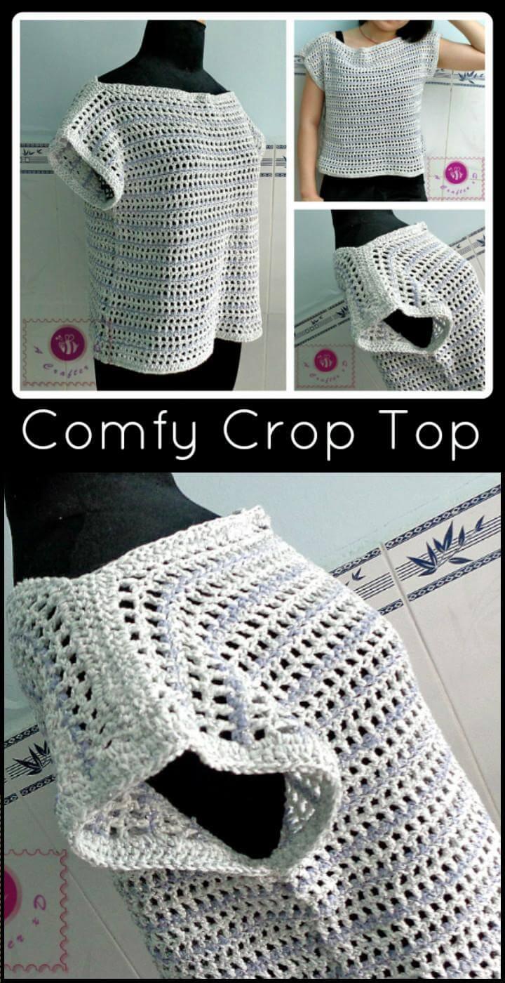 Top corto aireado de crochet fácil