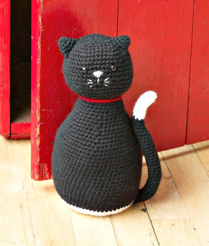 Crochet Awesome Cat Amigurumi - Tapón De Puerta De Gato Negro