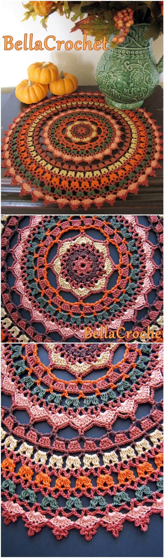 tapete de mandala de especias de otoño de ganchillo fácil