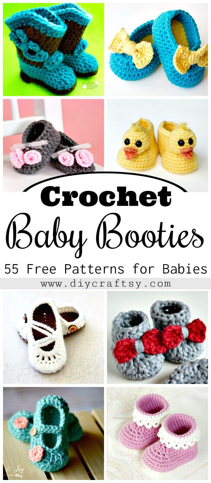 Botitas de crochet para bebé - Patrones de crochet gratis para bebés