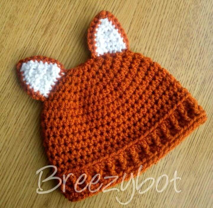 Patrón gratuito de sombrero de zorro bebé de ganchillo fácil