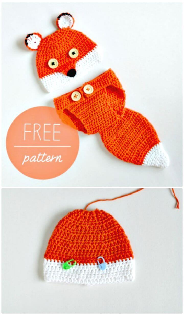 Cómo tejer un lindo gorro de bebé de zorro y un patrón sin cubierta de pañal