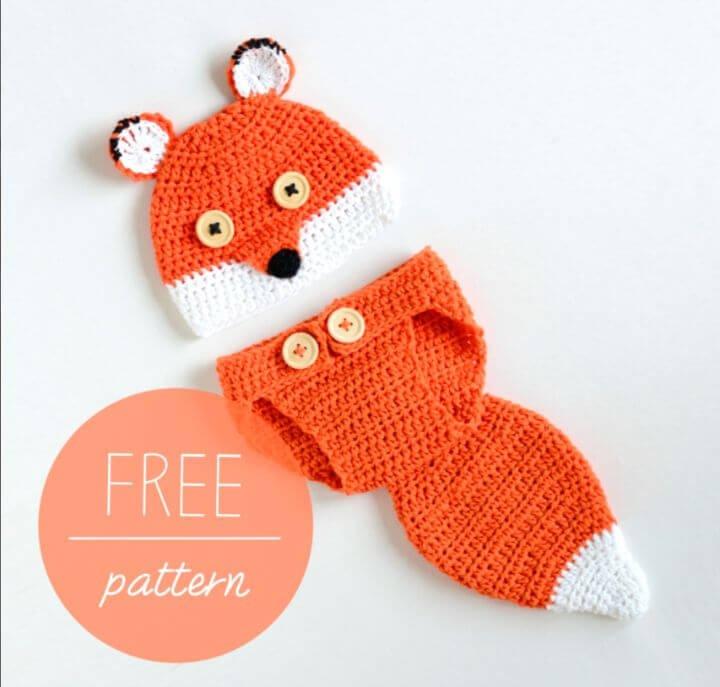 Sombrero de bebé de ganchillo fácil y cubierta de pañal Cute Fox