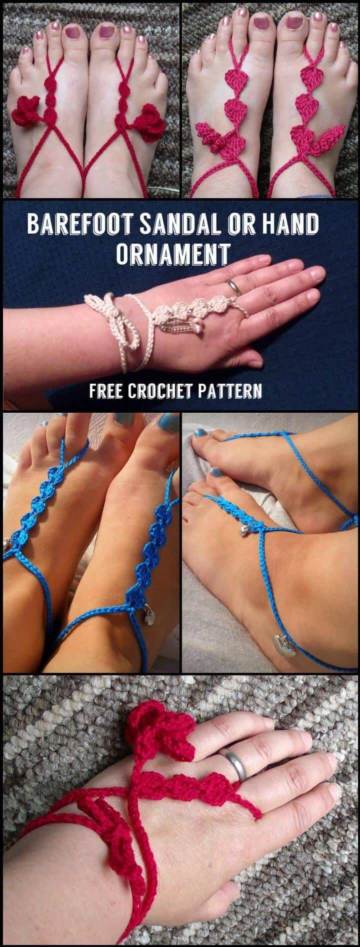 Crochet Barefoot Sandal or Hand Ornament