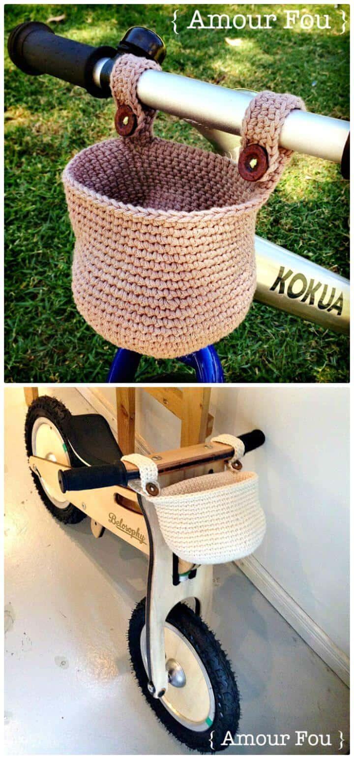Instrucciones paso a paso de cesta de ganchillo gratis para patrón de bicicleta infantil.