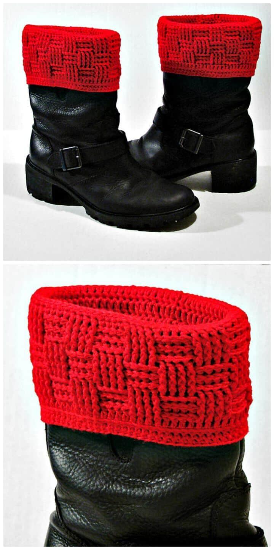 Patrón de cubiertas de botas de tejido de canasta de ganchillo gratis