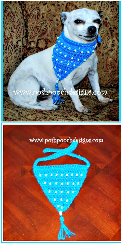 Patrón de pañuelo con cuentas de ganchillo gratis para perros