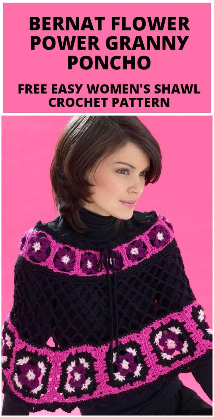 Bricolaje fácil crochet bernat flower power granny poncho o patrón de chal