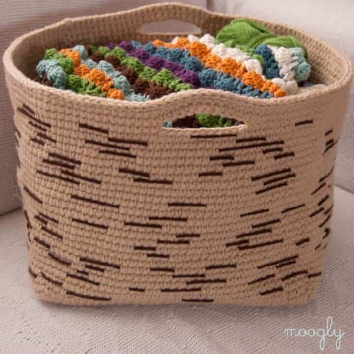 Patrón de cesta de corteza de abedul de ganchillo gratis