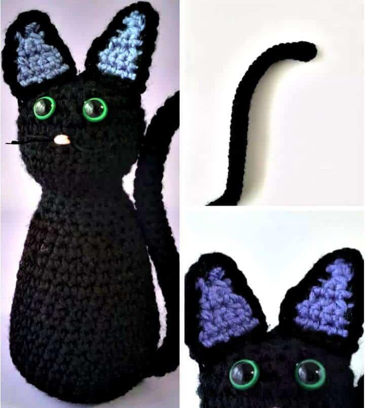 Patrón de gato negro de ganchillo fácil gratis