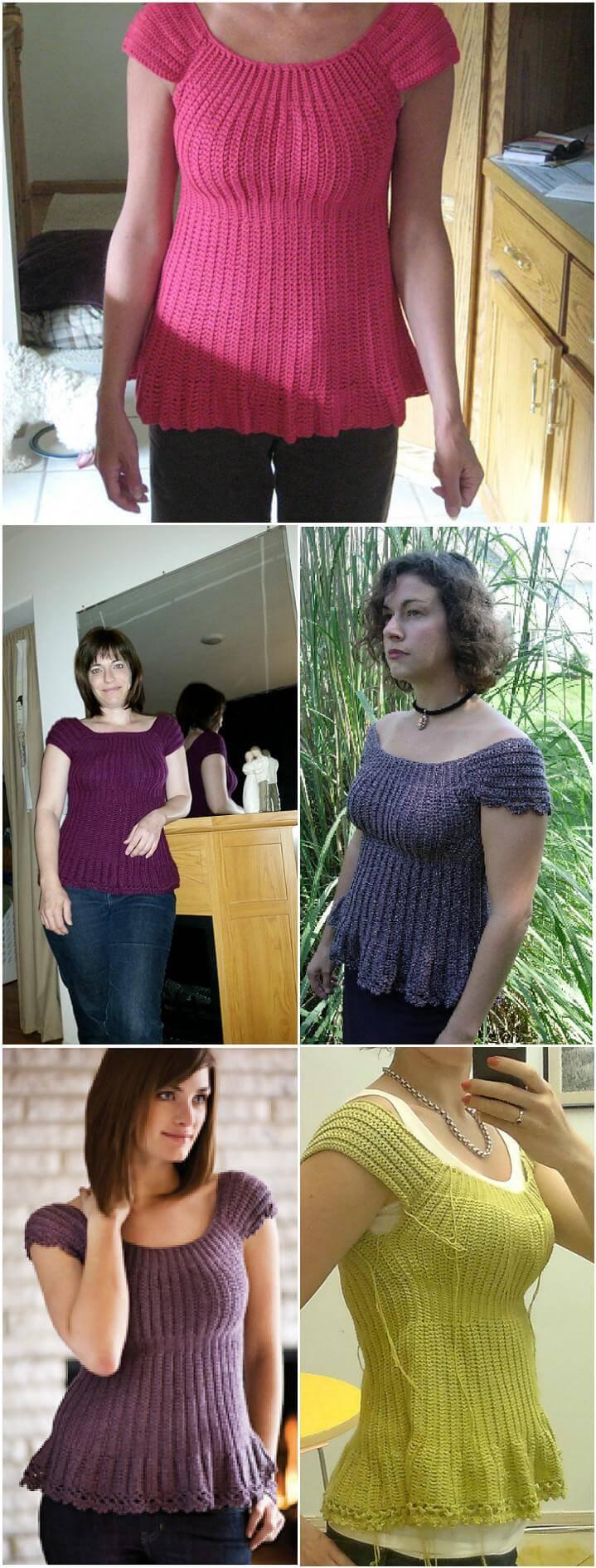 top de manga corta de crochet fácil