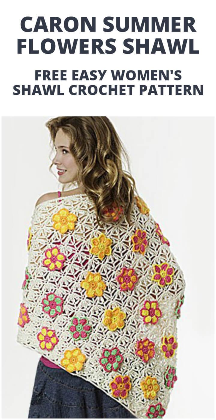 patrón de chal de flores de verano caron de ganchillo gratis