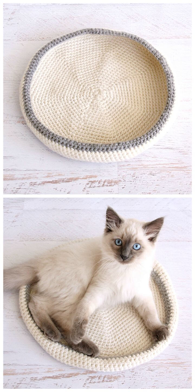 Cama para gatos de ganchillo - Patrón gratuito para mascotas