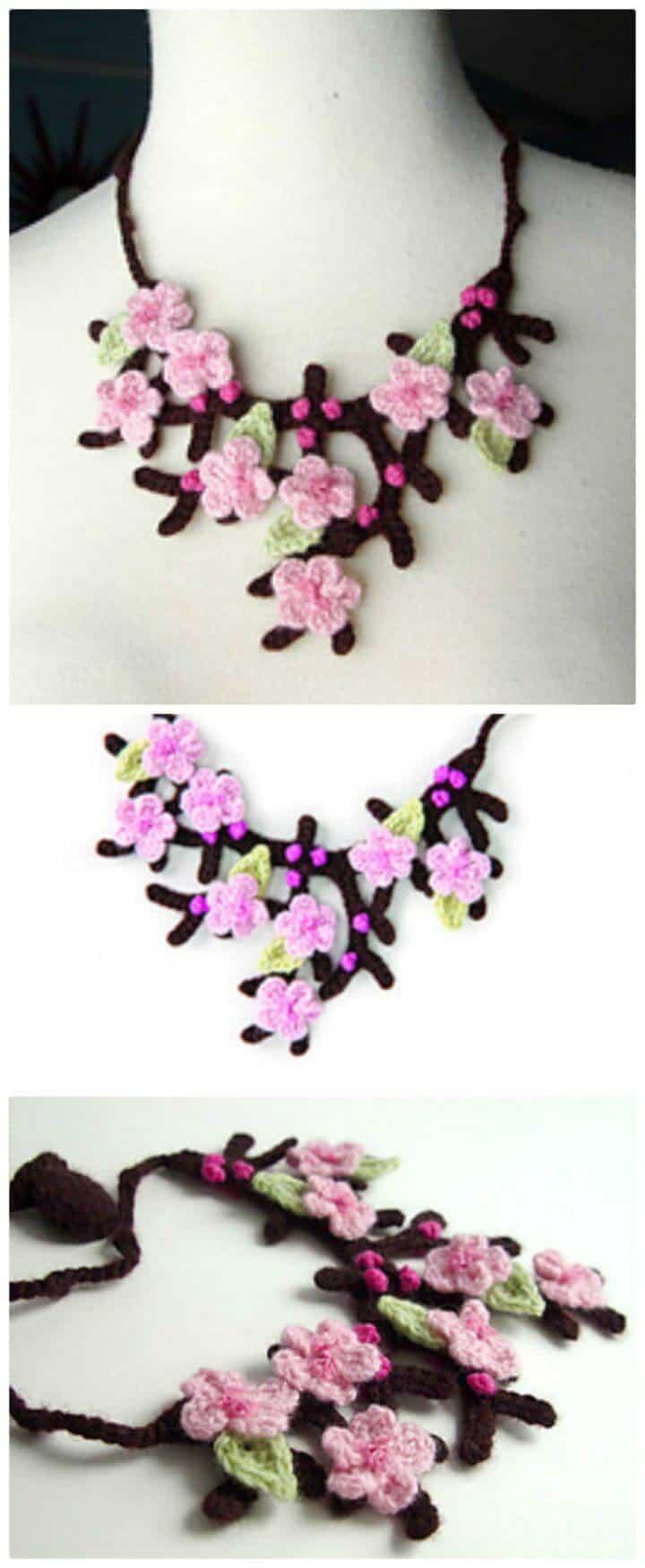 Cómo tejer un collar de flores de cerezo en crochet - Patrón gratuito con tutorial