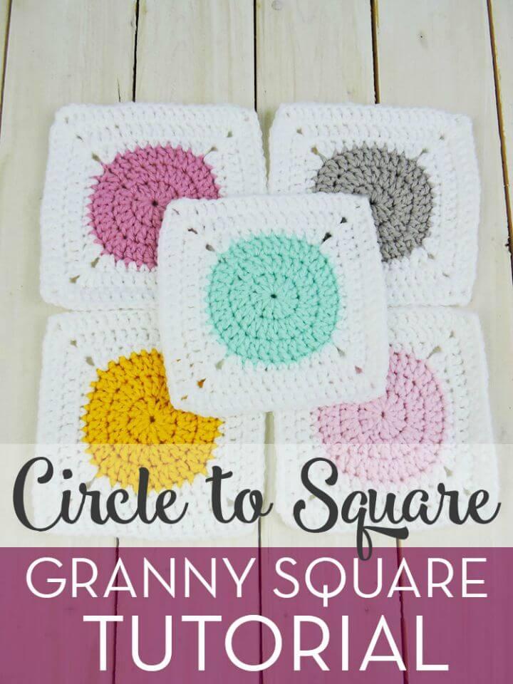 Tutorial gratuito de crochet Circle to Square Granny Square