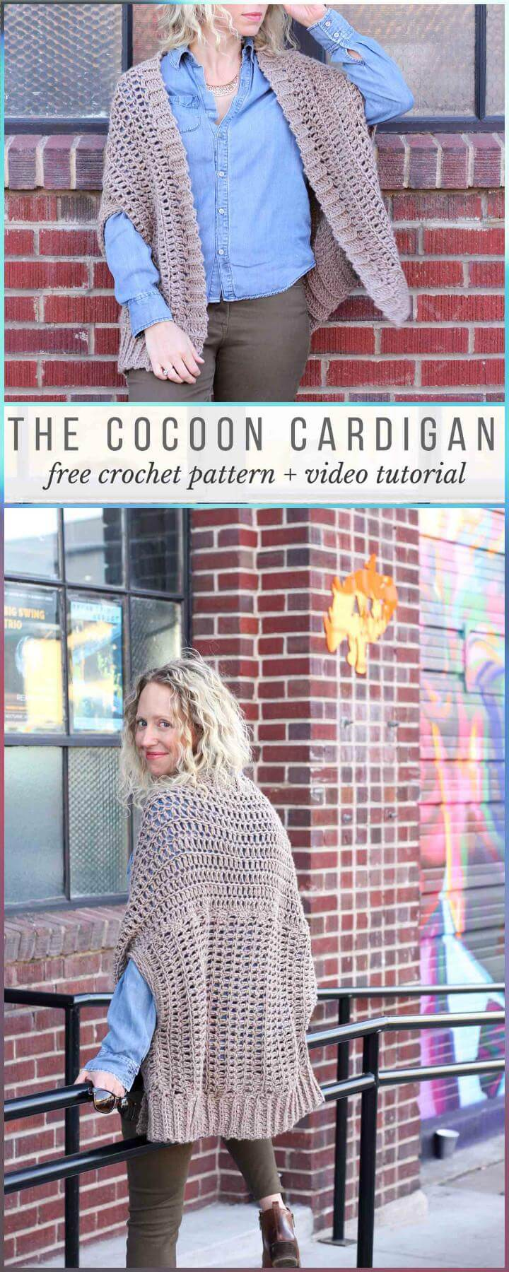 Cárdigan Cocoon de Crochet con Patrón Gratis y Video Tutorial