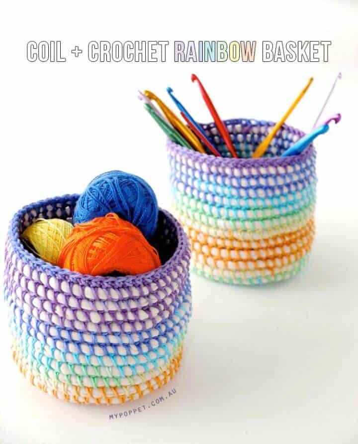 Cómo liberar bobina de ganchillo + patrón de canasta arcoíris
