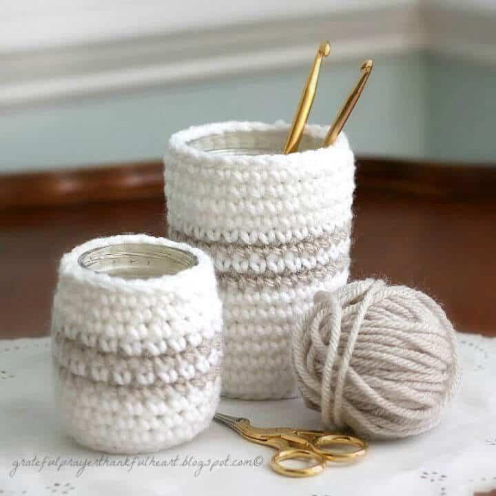 Patrón de crochet gratis acogedor para tarros