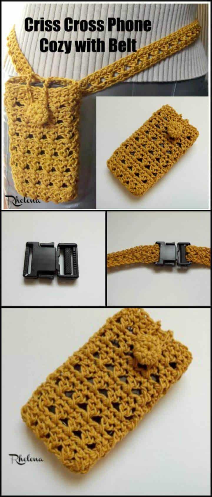 crochet criss cross phone acogedor con cinturón