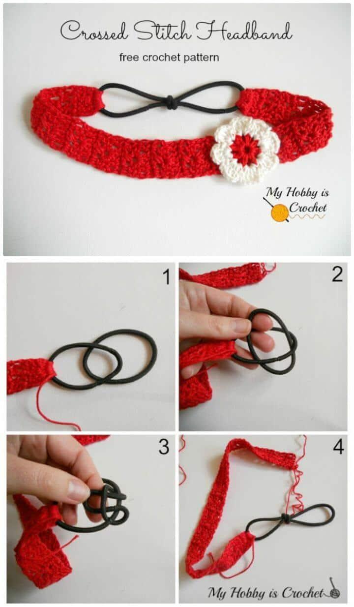Diadema de punto cruzado de ganchillo fácil con aplique de flores - Patrón gratuito