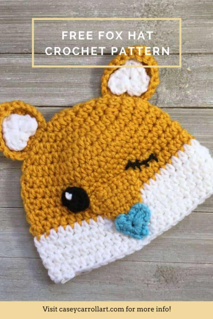Crochet Cutesy Fox Hat - Patrón gratuito