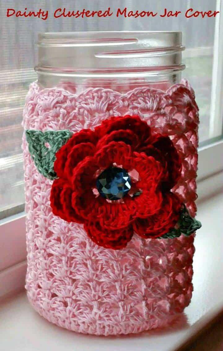 Cómo tejer una delicada cubierta de tarro de cristal en racimo en crochet - Patrón gratuito