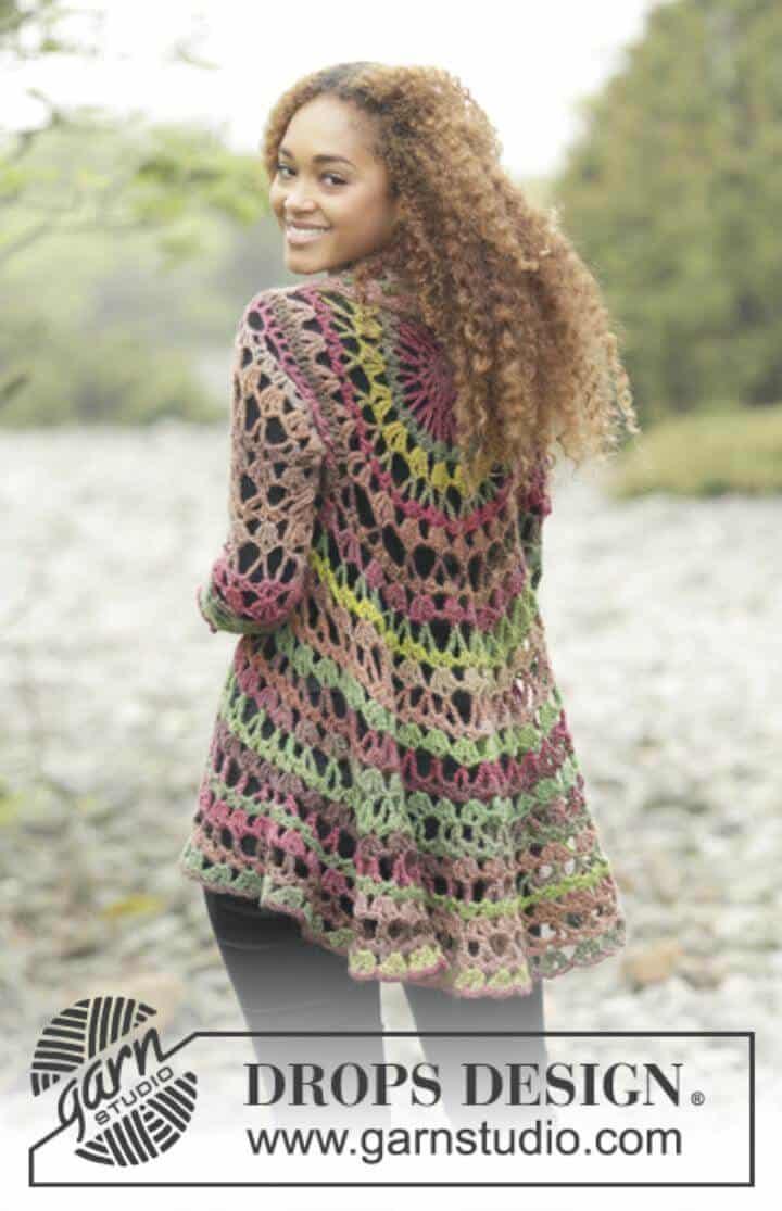 Chaqueta Crochet Drops - Patrones circulares de chaleco gratis