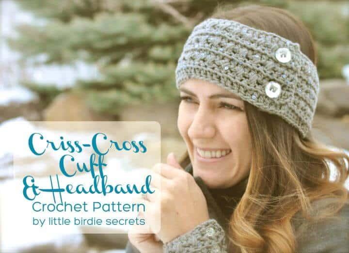 Crochet Easy Criss-Cross Puños y diadema - Patrón gratuito