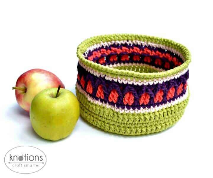 Cómo tejer una cesta de manzanas de otoño a crochet - Patrón gratuito