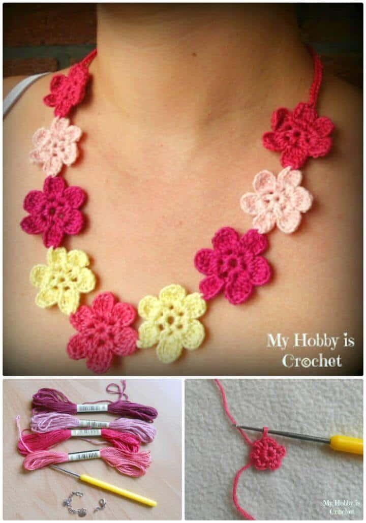 Collar de flores de ganchillo gratis Patrón de sueño hawaiano con tutorial