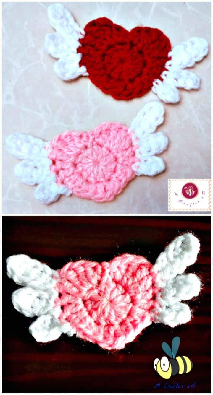Crochet Flying Heart Applique - Free Pattern