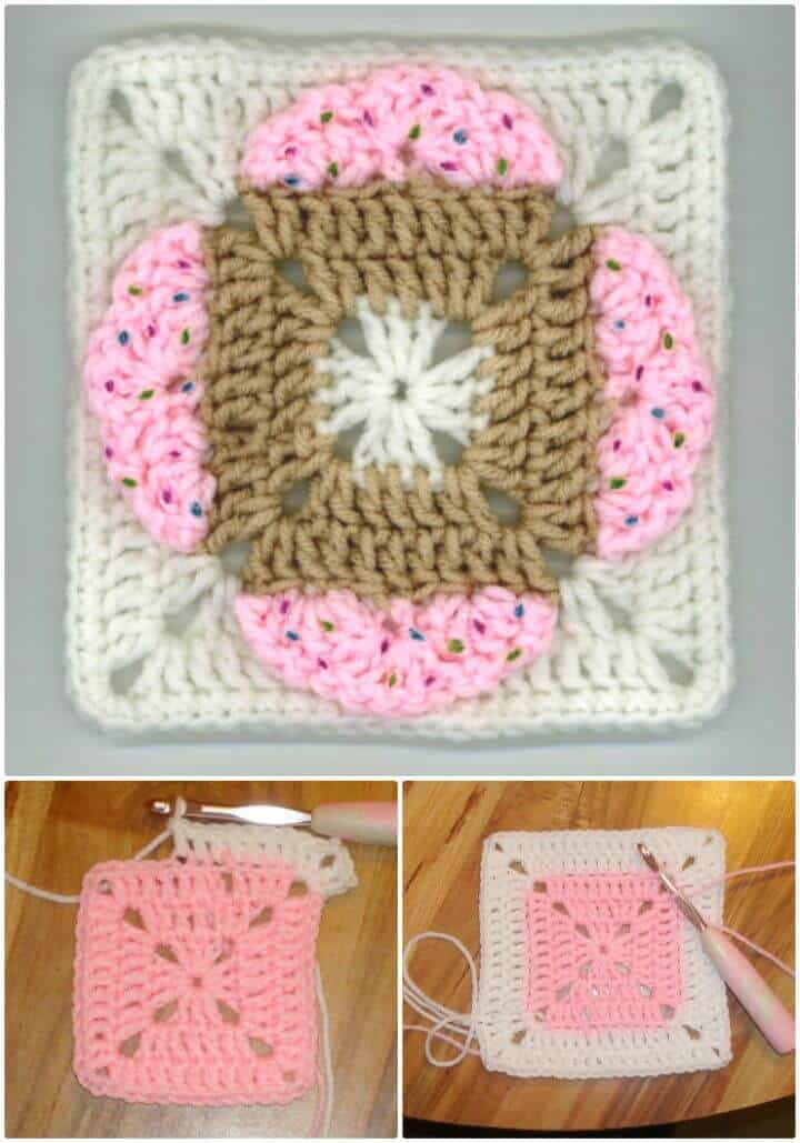 Free Crochet Four Hearts Square (Ice Cream & Cupcakes Too)