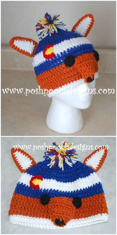 Crochet Fox Colorado Beanie Hat Pattern