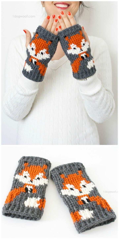 Patrón de guantes sin dedos de zorro de ganchillo gratis