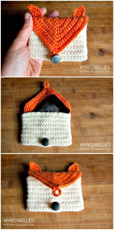 Cómo liberar el patrón de tarjetero de crochet Fox