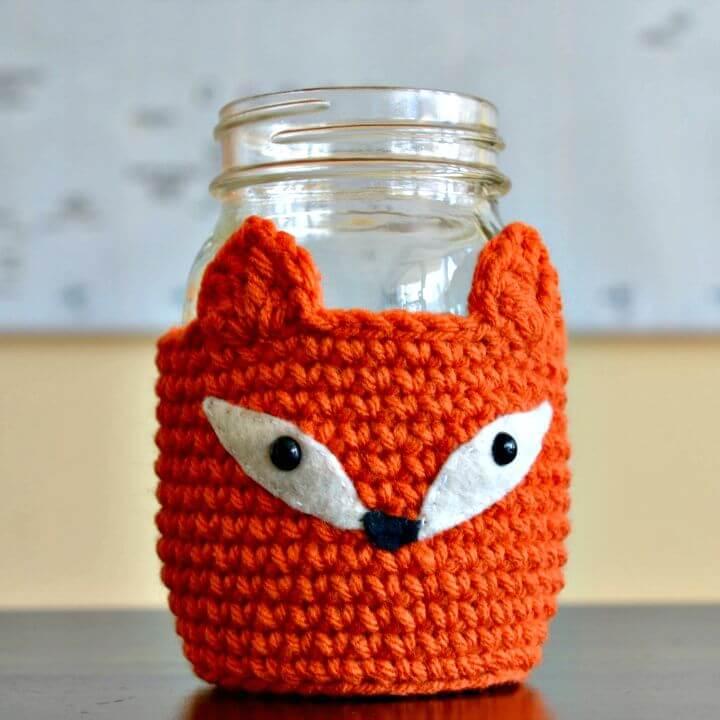 Cómo crochet Fox Mason Jar Cozy - Patrón gratuito