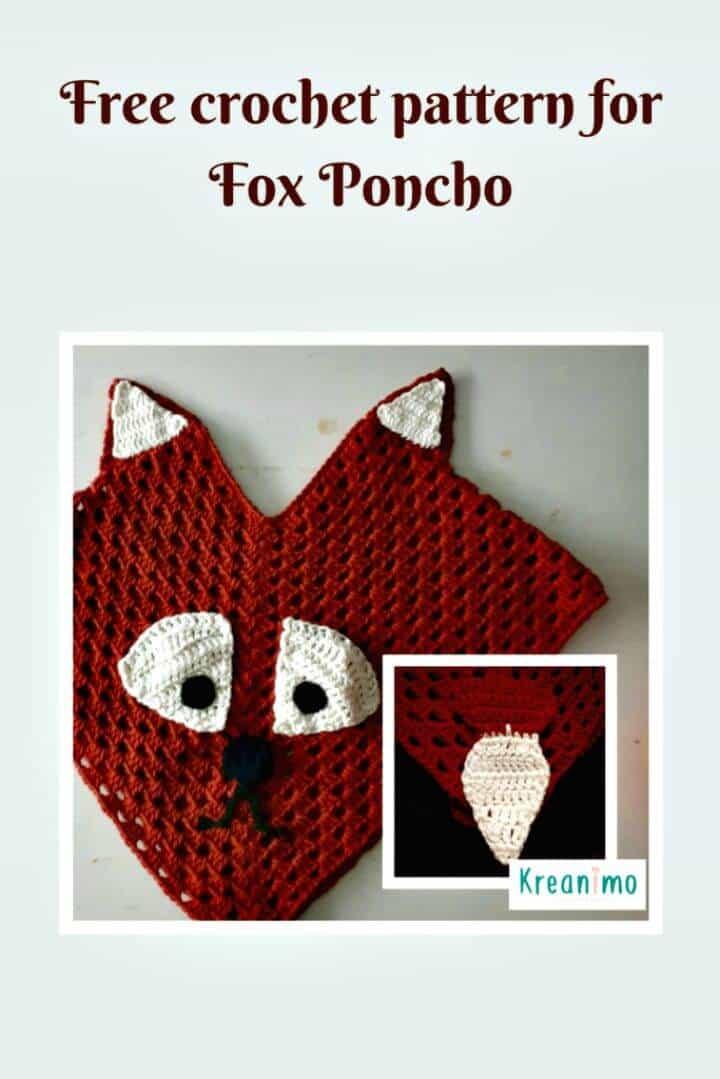 Poncho Crochet Kid's Fox - Patrón Gratis