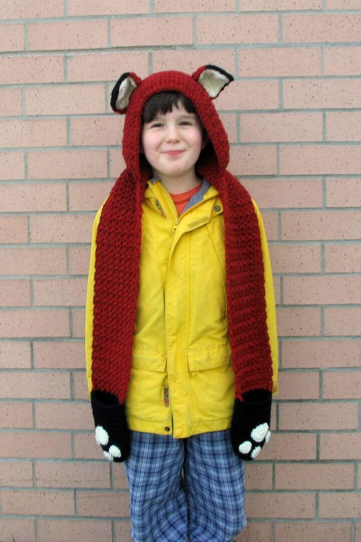 Crochet Fox Scoodie con patrón de bolsillos