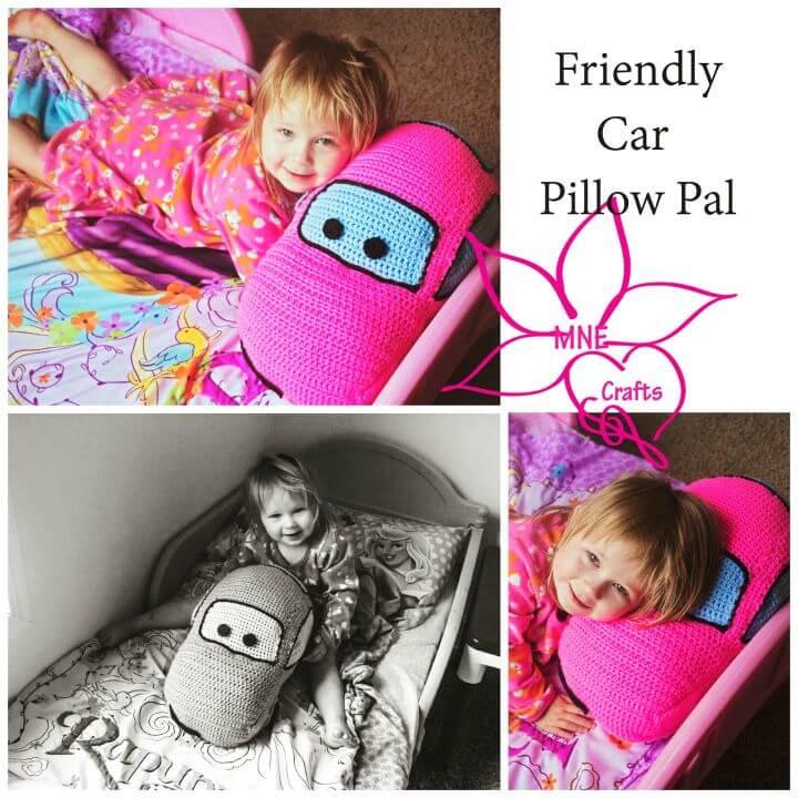 Patrón de almohada de coche amistoso de ganchillo gratis
