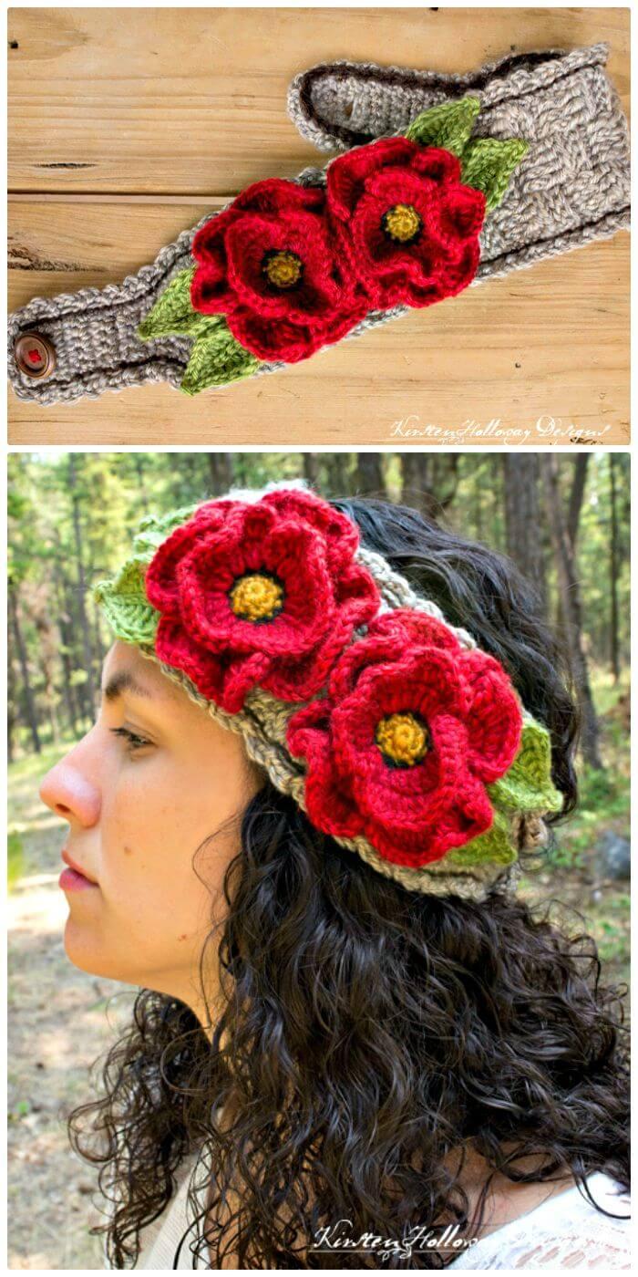 Patrón de diadema de crochet lleno de amapolas gratis