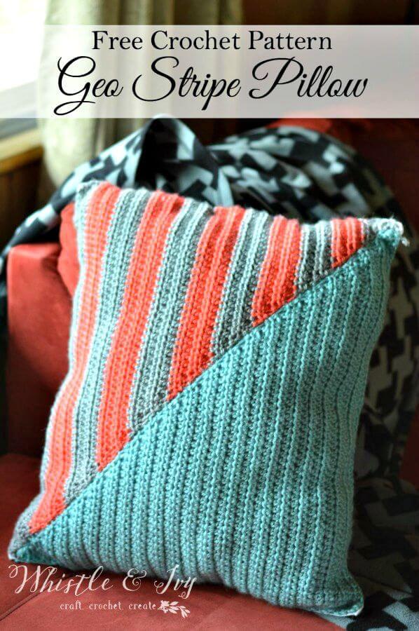 Cojín Crochet Geo Stripe - Patrón libre