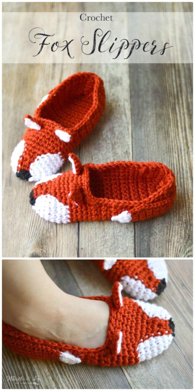 Patrón de zapatillas de zorro de moda de ganchillo gratis